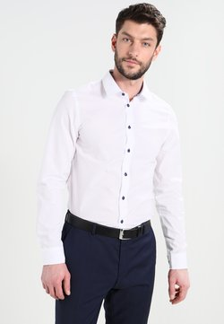 Pier One - CONTRAST BUTTON SLIMFIT - Hemd - white/blue