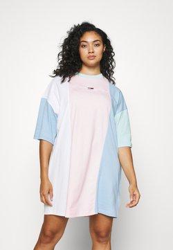 Tommy Jeans Curve - COLOR BLOCK TEE DRESS - Jersey dress - romantic pink/multi