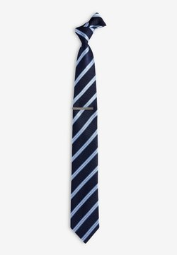 Next - STRIPE TIE AND TIE CLIP SET - Krawatte - blue