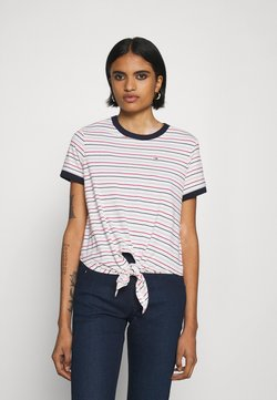 Tommy Jeans - FRONT TIE TEE - T-Shirt print - white/multi