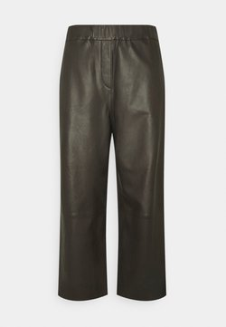 Marc O'Polo - PANTS CULOTTE MEDIUM RISE WIDE LEG CROPPED  - Kangashousut - black brown