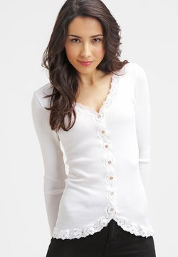 Rosemunde - SILK-MIX CARDIGAN REGULAR LS W/REV VINTAGE LACE - Strikjakke /Cardigans - new white