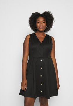 Simply Be - WRAP PINAFORE DRESS - Jerseykleid - black