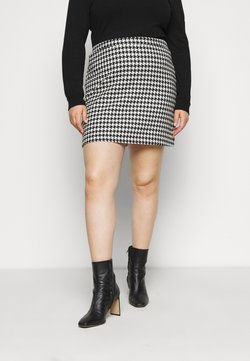 Simply Be - HOUNDSTOOTH MINI SKIRT - Minirock - black/white