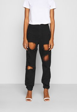 Missguided Tall - RIOT HIGH RISE RIPPED  - Relaxed fit -farkut - black