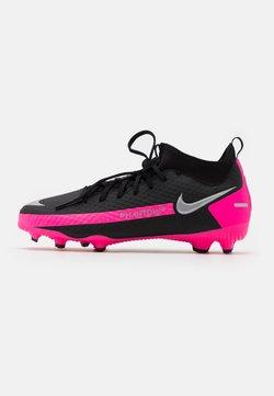 Nike Performance - JR PHANTOM GT ACADEMY DF FG/MG UNISEX - Fotballsko - black/metallic silver/pink blast