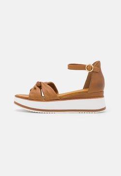 Anna Field - LEATHER - Korkeakorkoiset sandaalit - brown