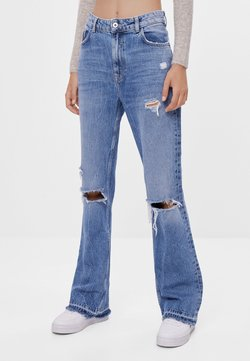 Bershka - MIT ZIERRISSEN - Flared Jeans - blue
