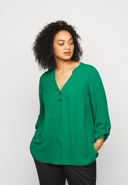 Dorothy Perkins Curve - CURVE PLAIN ROLL SLEEVE  - Langarmshirt - green