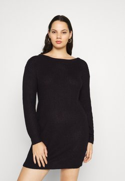 Missguided Plus - PLUS OFF SHOULDER JUMPER DRESS - Strickkleid - black