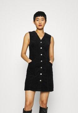 Dorothy Perkins - BUTTON DOWN V NECK PINNY - Day dress - black