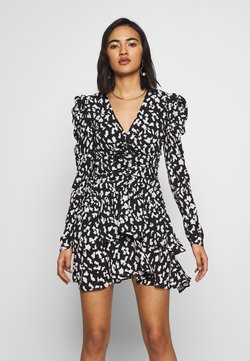 Who What Wear - THE RUCHED 80S MINI DRESS - Cocktailkleid/festliches Kleid - black/white