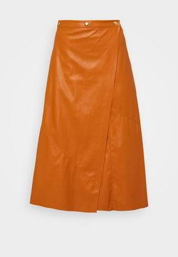 Who What Wear - PIECED WRAP SKIRT - A-linjainen hame - cognac orange