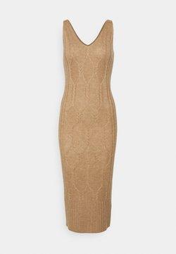 pure cashmere - MAXI SLEEVELESS PATTERNED DRESS - Vestido de punto - beige