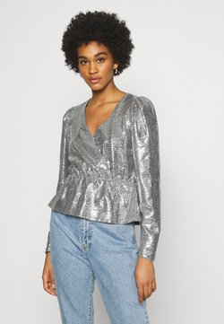 Gina Tricot - WARREN SEQUINS - Long sleeved top - silver