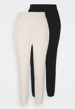 Even&Odd - 2er PACK - Loose fit joggers - Jogginghose - black/mottled beige