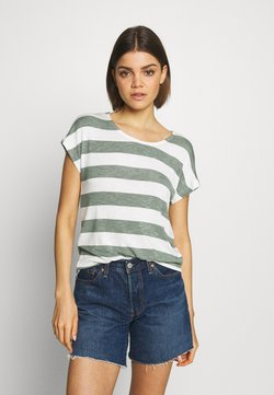 Vero Moda - VMWIDE STRIPE TOP  - T-Shirt print - laurel wreath/snow white