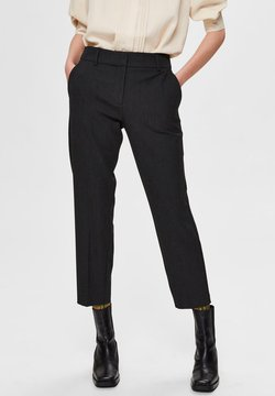 Selected Femme - CROPPED MID WAIST - Pants - black