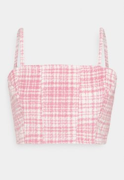 Missguided - BRUSHED CHECK CROP TOP - Pusero - pink