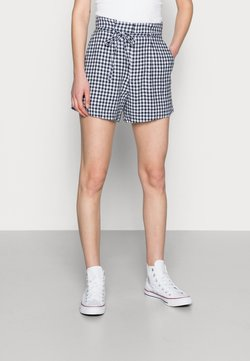 Abercrombie & Fitch - BELTED SHORT GINGHAM - Shorts - navy and white gingham