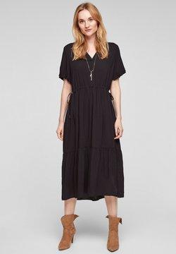 s.Oliver - STROKENJURK MET BALLONMOUWEN - Korte jurk - black