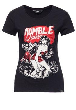 Queen Kerosin - IM VINTAGE LOOK RUMBLE QUEEN - T-shirt print - schwarz
