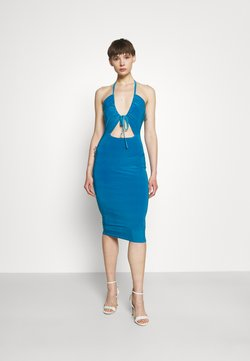 Missguided - HALTER NECK CHANNEL CUT OUT - Jerseykleid - blue