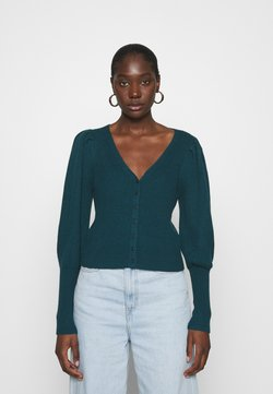 Abercrombie & Fitch - SWIRLY CABLE SHORT CARDI - Gilet - medium blue