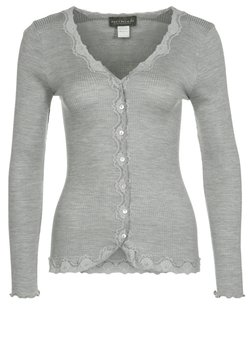 Rosemunde - SILK-MIX CARDIGAN REGULAR LS W/REV VINTAGE LACE - Strickjacke - grey melange