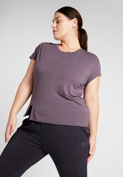 YOGA CURVES - SLIT - Camiseta estampada - aubergine