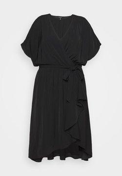 Forever New Curve - MELINA BATWING RUFFLE WRAP DRESS - Freizeitkleid - black