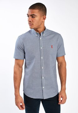 Next - NAVY GINGHAM SHORT SLEEVE STRETCH OXFORD SHIRT - Hemd - blue