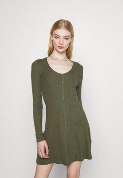 Even&Odd - Ribbed button through mini dress - Vestido de punto - green