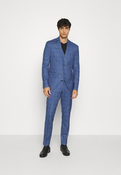 Isaac Dewhirst - MID BLUE CHECK 3PCS SUIT - Costume - blue