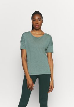 Nike Performance - YOGA LAYER - T-Shirt basic - hasta heather/light pumice/dark teal green