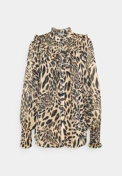 Topshop - ANIMAL SHIRRED BLOUSE - Overhemdblouse - brown