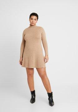Vero Moda Curve - VMHAPPY ROLLNECK DRESS - Neulemekko - tobacco brown/melange