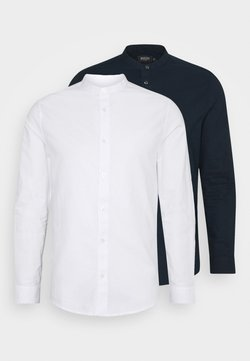 Burton Menswear London - LONG SLEEVE OXFORD GRANDAD 2 PACK - Camicia - dark blue/white