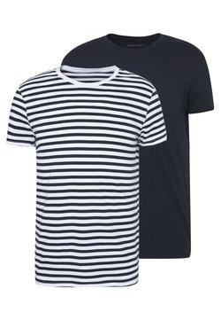 Pier One - 2 PACK - T-Shirt basic - white/dark blue