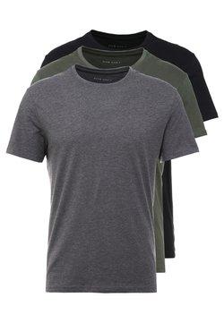 Pier One - 3 PACK - T-Shirt basic - black/grey/green