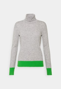 pure cashmere - TURTLENECK COLOR BLOCK - Strickpullover - light grey/green