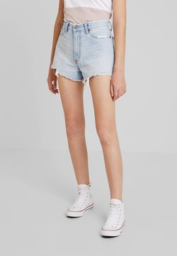 Abercrombie & Fitch - HIGH RISE - Denim shorts - light-blue denim