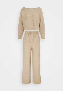 Even&Odd - SET STRICK - Jumper & Wide leg trouser - Strickpullover - sand