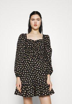 Miss Selfridge - DITSY POPLIN SQUARE NECK DRESS - Freizeitkleid - black