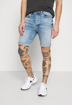 Gym King - SKINNY WITH RIPS - Jeansshort - light blue