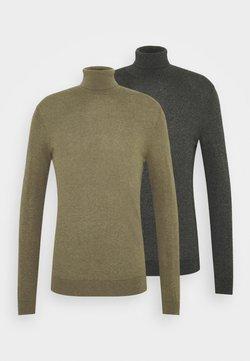 Topman - 2 PACK  - Pullover - khaki/dark grey melange