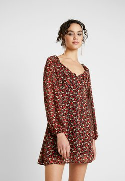 Missguided - MILKMAID DRESS FLORAL - Day dress - red
