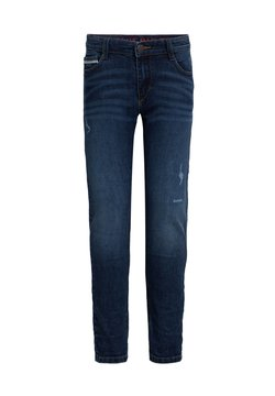 WE Fashion - JONGENS SLIM FIT MET TAPE EN DISTRESSED DETAILS - Slim fit jeans - dark blue