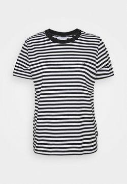 Calvin Klein - SMALL STRIPE C NECK - T-Shirt print - black/bright white