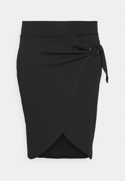 Simply Be - WRAP MIDI SKIRT WITH BUCKLE DETAIL - Falda de tubo - black